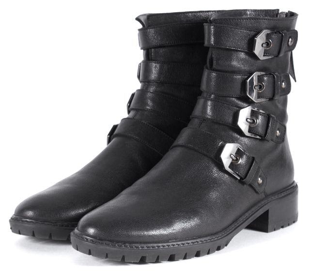 STUART WEITZMAN Black Leather Belted Ankle Boots
