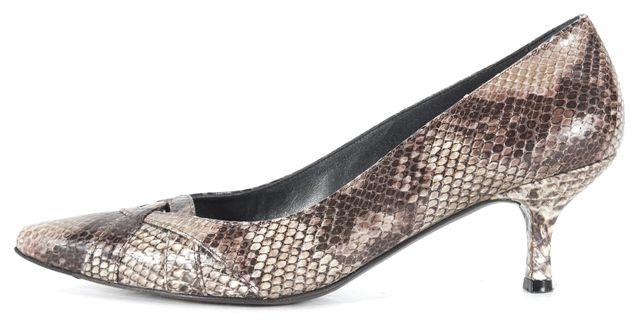 STUART WEITZMAN Brown Snakeskin Embossed Leather Pointed Toe Heels