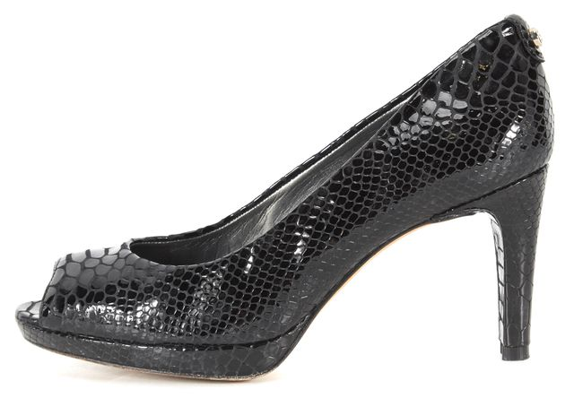 STUART WEITZMAN Black Snake Embossed Patent Leather Peep Toe Heels