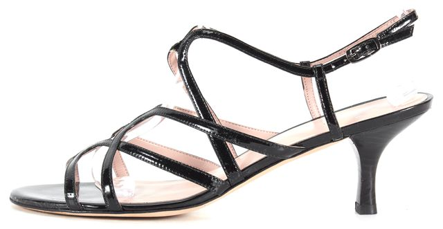 STUART WEITZMAN Solid Black Patent Leather Cage Sandal Heels