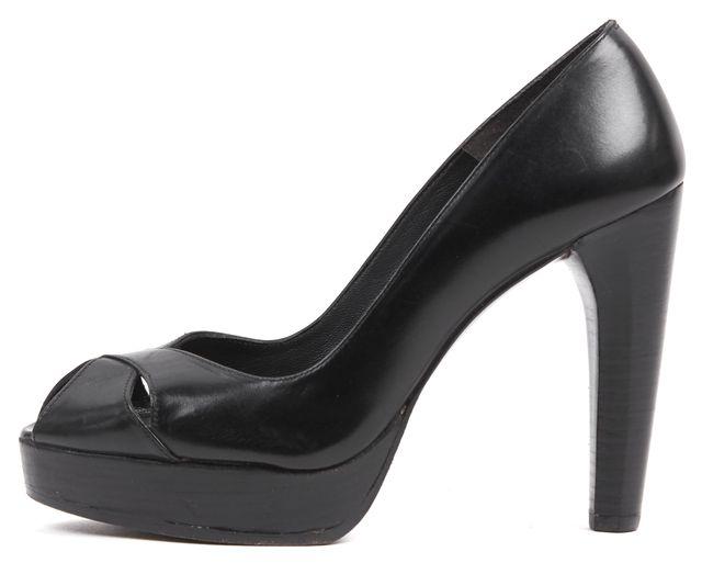 STUART WEITZMAN Solid Black Leather Peep Toe Pump Heels