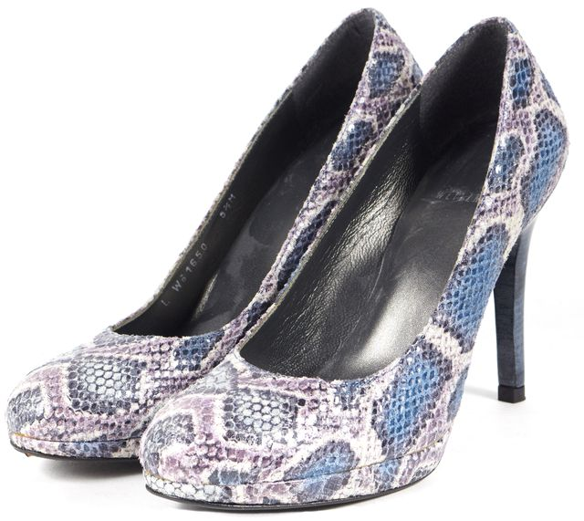 STUART WEITZMAN Purple Blue Snake Embossed Leather Pumps Heels