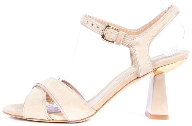 STUART WEITZMAN Beige Buff Suede Leather Sunzen Sandals Heels