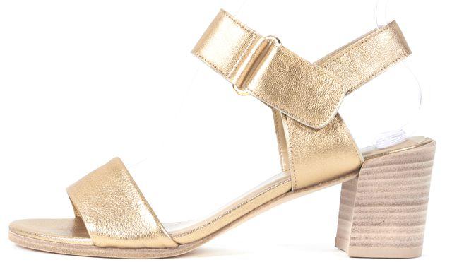 STUART WEITZMAN Gold Leather Broadband Sandal Heels