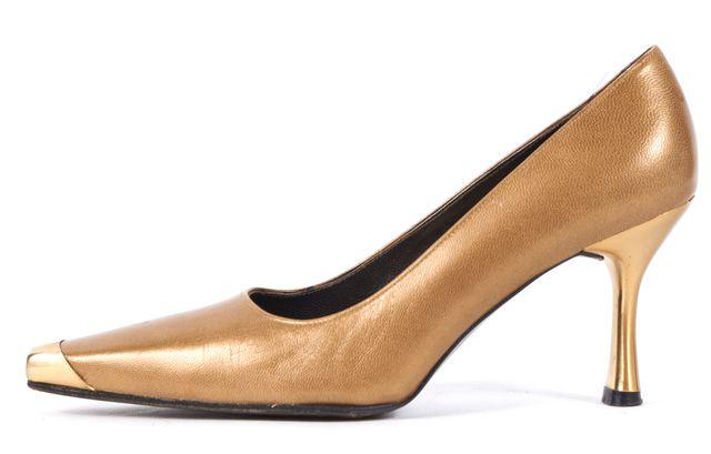 STUART WEITZMAN Brown Leather Gold Pointed Toe Cap Toe Pump Heels
