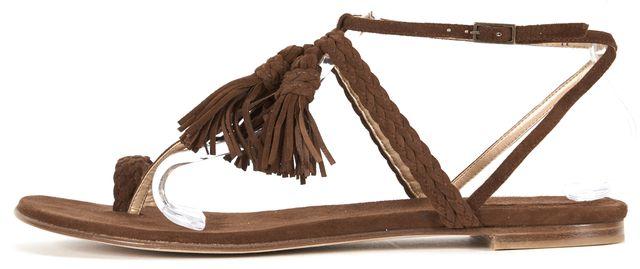 STUART WEITZMAN Brown Braided Suede Tasselites Flat Sandals