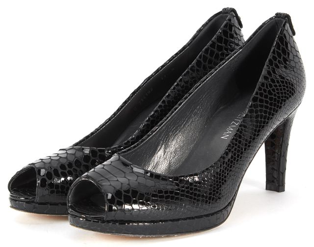 STUART WEITZMAN Black Snake Embossed Patent Leather Logoplainfield Heels