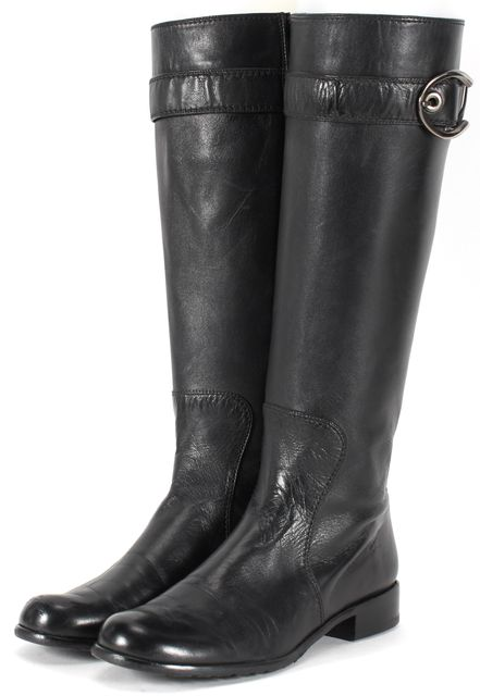 STUART WEITZMAN Black Leather Flat Knee-High Boots
