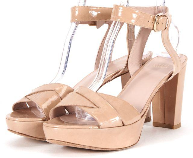 STUART WEITZMAN Beige Patent Leather Platform Ankle Strap Sandal Heels