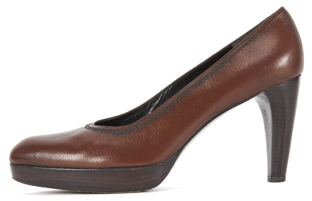 STUART WEITZMAN Medium Brown Leather Stacked Platform Pump Heels