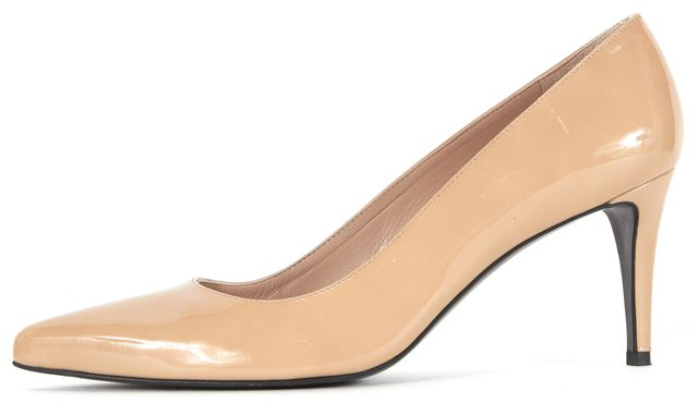 STUART WEITZMAN Light Beige Patent Leather Pointed Pump Heels