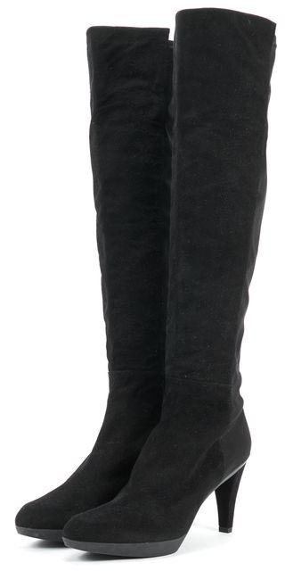 STUART WEITZMAN Black Suede Elastic Over The Knee Boot Tall Boots
