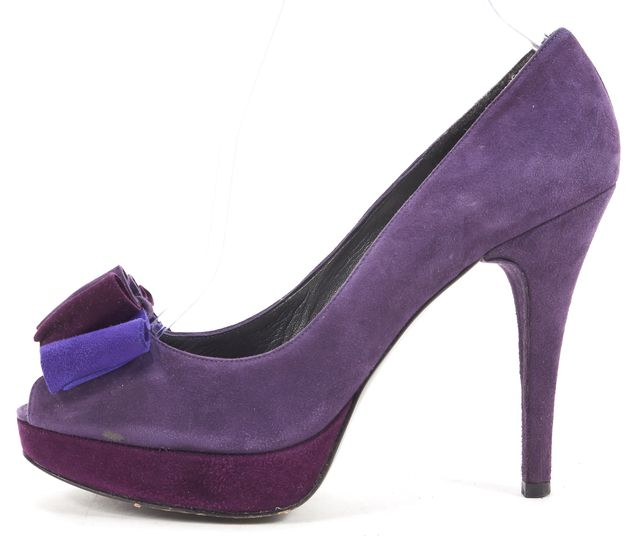 STUART WEITZMAN Purple Suede Bow Embellished Peep Toe Platform Pumps Heels