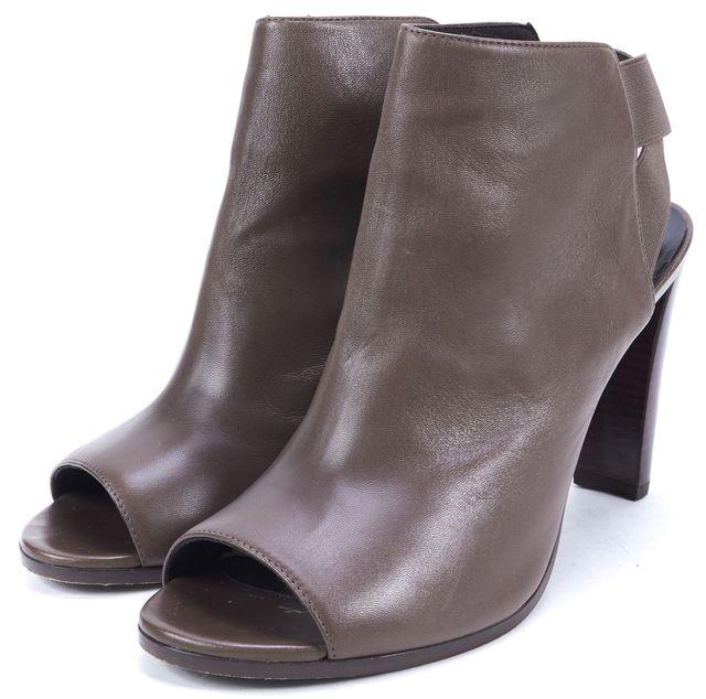STUART WEITZMAN Brown Leather Hereitis Peep-Toe Crisscross Booties Heels