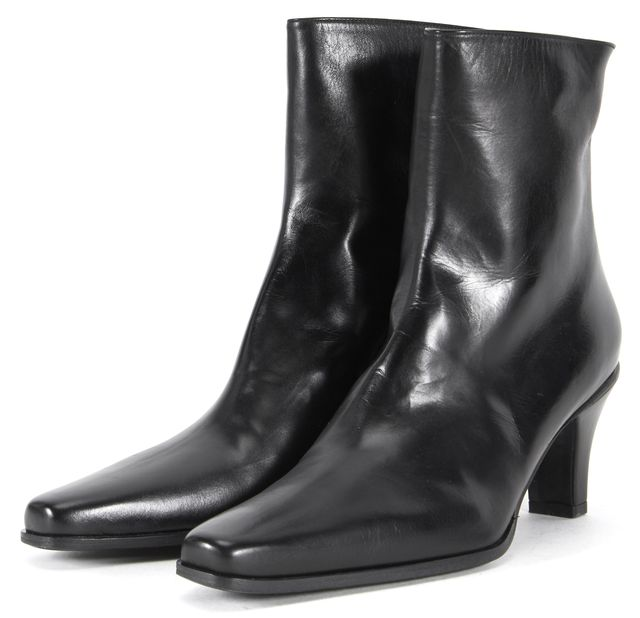STUART WEITZMAN Solid Black Leather Square Toe Mid-Calf Boots