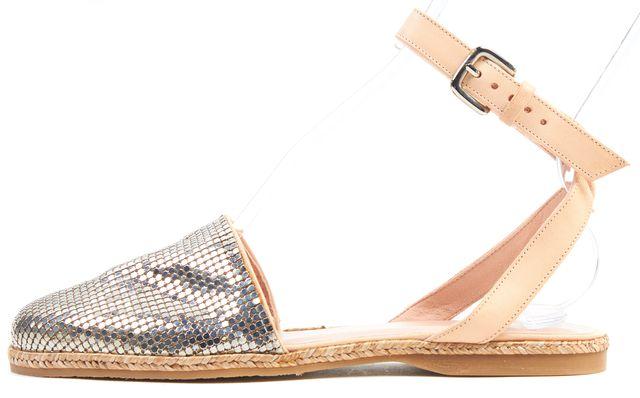 STUART WEITZMAN Silver Armor Metal Mesh Leather Espadrille Flat Sandals