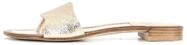 STUART WEITZMAN Metallic Gold Crinkle Foil Leather Flat Slip-On Sandals