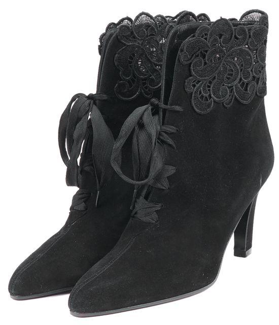 STUART WEITZMAN Black Suede Leather Crochet Lave Trim Ankle Booties Heels