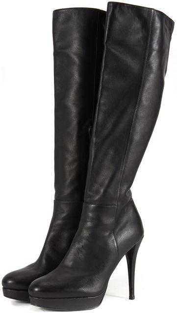 STUART WEITZMAN Black Leather Knee-high Side Zipped Tall Boots