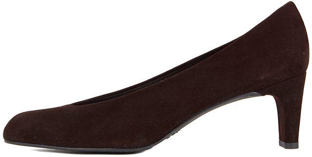 STUART WEITZMAN Dark Brown Suede Square Toe Pump Heels