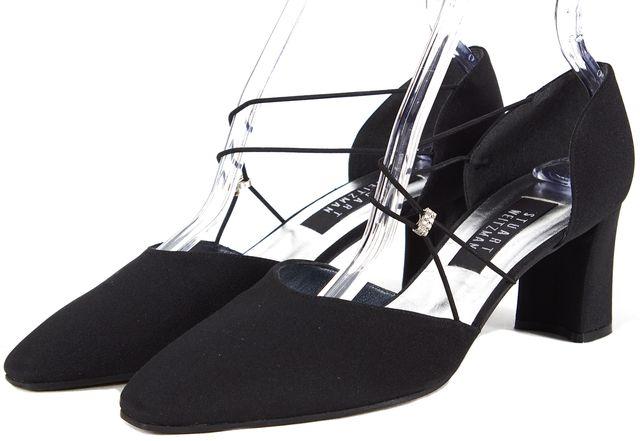 STUART WEITZMAN Solid Black Jewel Strap D'Orsay Pointed Toe Heels