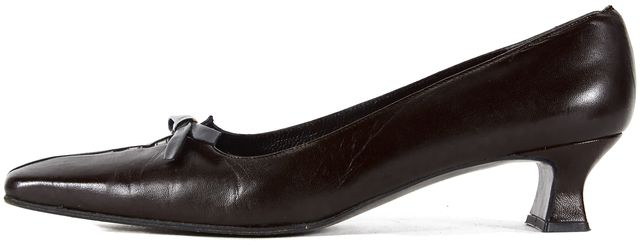 STUART WEITZMAN Brown Leather Ribbon Square Toe Kitten Heel Loafers