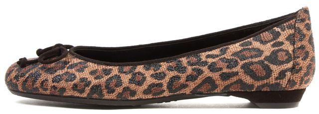 STUART WEITZMAN Brown Leopard Print Goose Bump Suede Flats