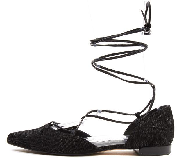 STUART WEITZMAN Black Bump Embellished Suede Lace Up d'Orsay Flats