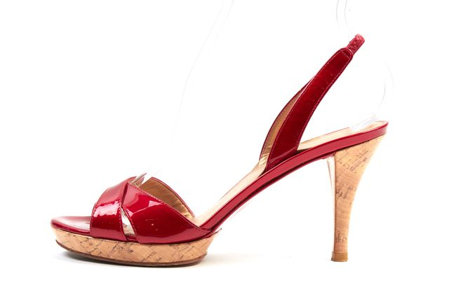 STUART WEITZMAN Shiny Red Patent Leather Cork Sandal Heels