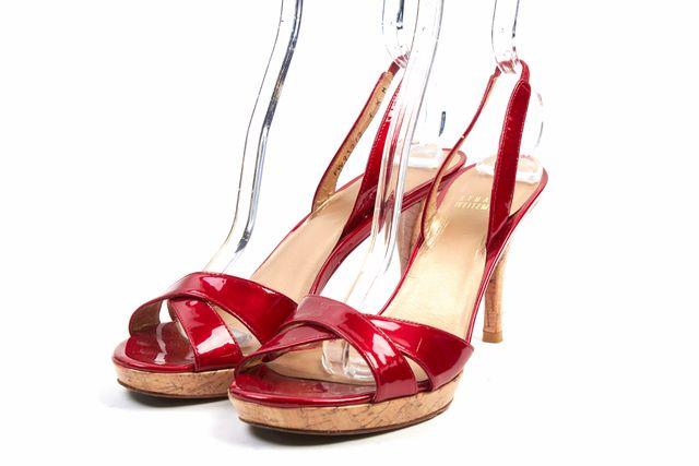STUART WEITZMAN Shiny Red Patent Leather Cork Sandal Heels