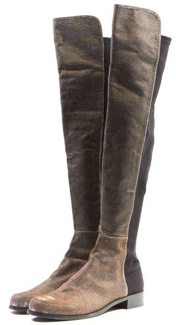 STUART WEITZMAN Gold Glitter Textile 5050 Over-The-Knee Boots
