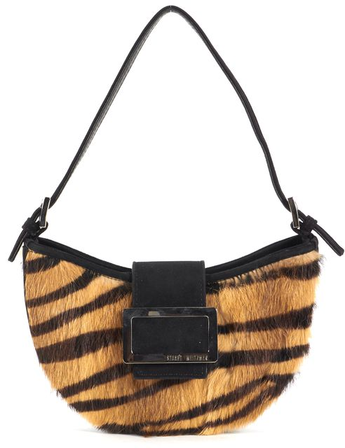 STUART WEITZMAN Brown Black Suede Calf Hair Mini Shoulder Bag