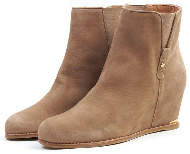 STUART WEITZMAN Beige Leather Pipecomo Hidden Wedge Ankle Boots
