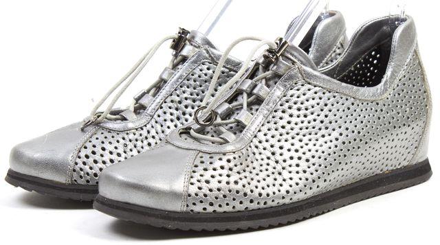 STUART WEITZMAN Gray Perforated Leather Hidden Wedge Sneakers