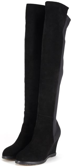 STUART WEITZMAN Black Suede Nylon Demiswoon Wedged Over-Knee Boots