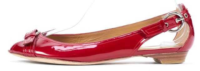 STUART WEITZMAN Ruby Red Patent Leather Peep Toe Chit Chat Flats