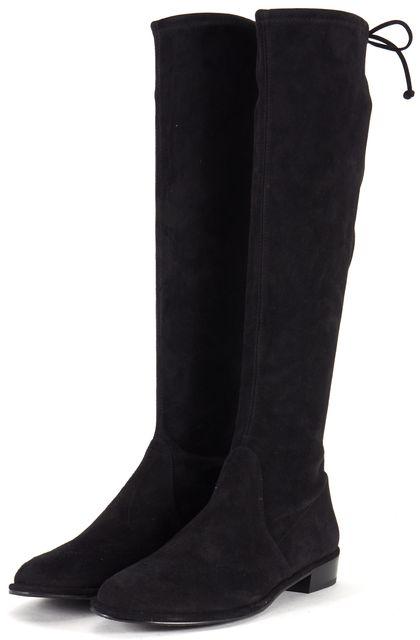 STUART WEITZMAN Black Suede Kneezie Flat Knee-High Boots