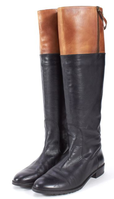 STUART WEITZMAN Black Brown Leather Flat Knee-High Boots