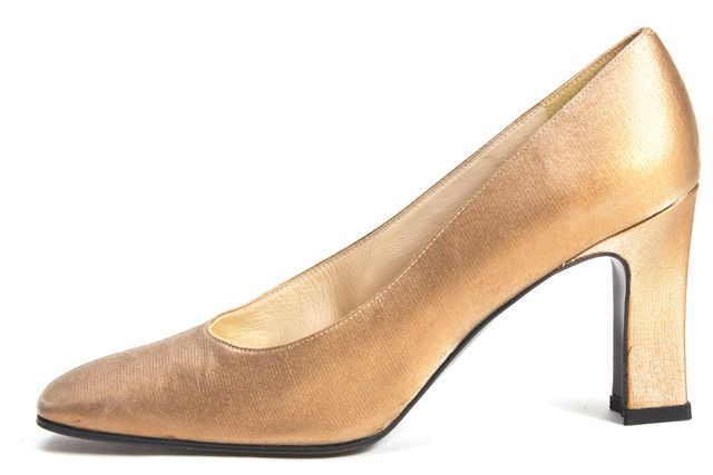 STUART WEITZMAN Gold Satin Square Toe Heels