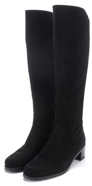 STUART WEITZMAN Black Suede Villepentagon Knee-high Low Heeled Boot