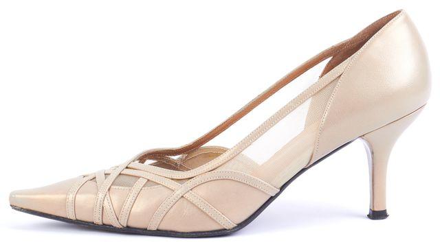 STUART WEITZMAN Gold Leather Mesh Detail Pump Heels