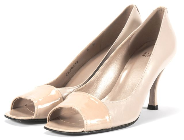 STUART WEITZMAN Beige Two Tone Leather Open Toe Heels