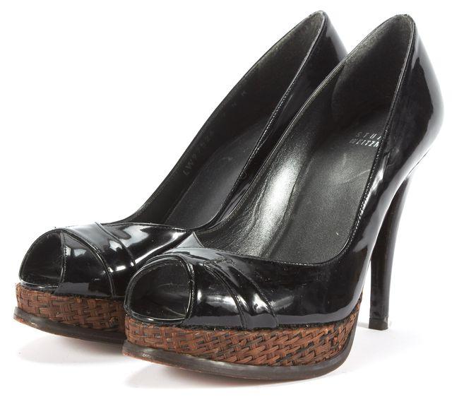 STUART WEITZMAN Black Leather Tweed Detail Open Toe Pump Heels