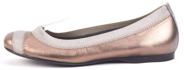 STUART WEITZMAN Gray Silver Trim Elasticized Ballet Leather Flats