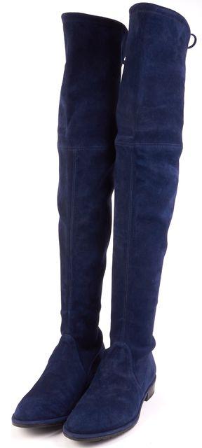 STUART WEITZMAN Nice Blue Suede Lowland Over Knee Boots