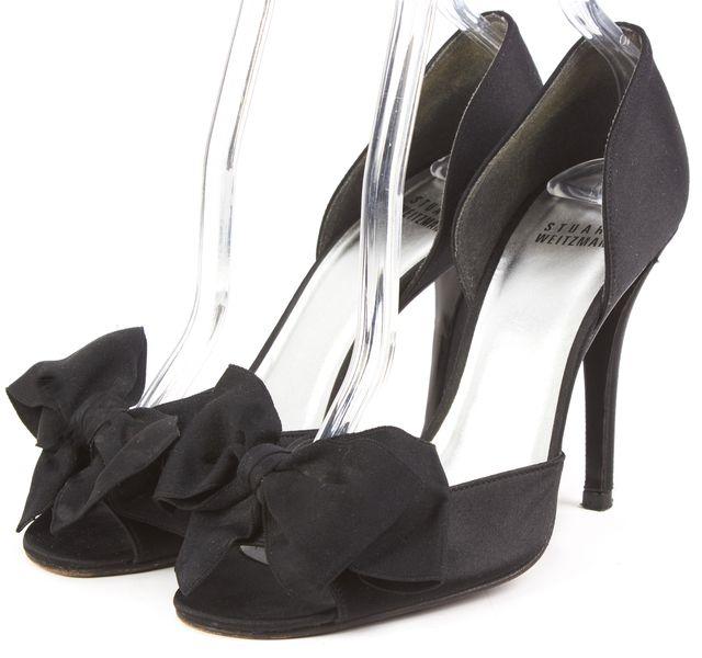 STUART WEITZMAN Black Satin Bow D'orsay Open Toe Slide On Heels