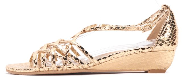 STUART WEITZMAN Gold Leather Snakeskin Embossed Open Toe Sandals