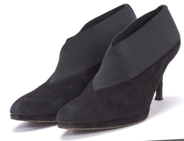 STUART WEITZMAN Black Suede Bootie Heels