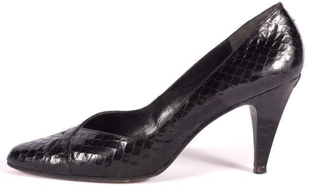 STUART WEITZMAN Black Crocodile Print Heels