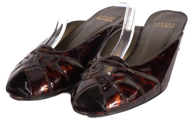 STUART WEITZMAN Brown Gloss Animal Print Leather Slip-on Heels